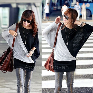 Womens Batwing Long Sleeve Splicing Loose Crew Neck Pullover Tops T-Shirt Blouse AP = 1946189508