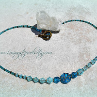 Turquoiise Moon Necklace, Moon, Star, Bohemian, Hippie, Boho, Glass, Direct Checkout, Ready to Ship
