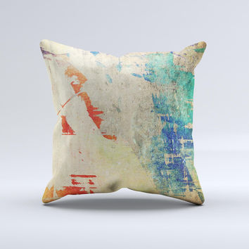 Grunge Multicolor Textured Surface Ink-Fuzed Decorative Throw Pillow