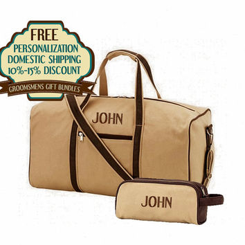 10% OFF- Personalized Deluxe Groomsmen 2 Piece Travel Bag Sets Sold In Bundles of 4, 5,and 6 Free Shipping and Free Monogramming