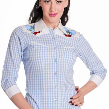 Western Cowgirl Blue Gingham Check w/ Cherry Patch Shirt