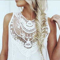 Lace Gypsy Tunic Dress in White