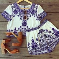Celebrity Sexy Women's Jumpsuits Floral Printed Playsuits Summer Loose Ladies Rompers 2 Piece Crop Top & Shorts Overalls Pants