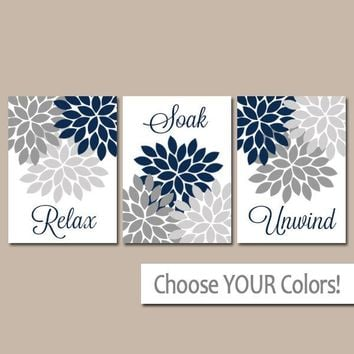 Navy Bathroom Decor, NAVY GRAY BATHROOM Wall Art, Bathroom Quotes, Relax Soak Unwind, Bathroom Quote Pictures, Set of 3 Canvas or Prints