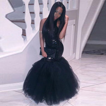 2016 Black Girl Mermaid Prom Dresses Halter Neck Sequins Topped Backless Sparkly Evening Gowns Cheap Women Pageant Party Gowns