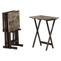 Linon Tray Table Set - Brown Faux Marble - Set of 4 | www.hayneedle.com