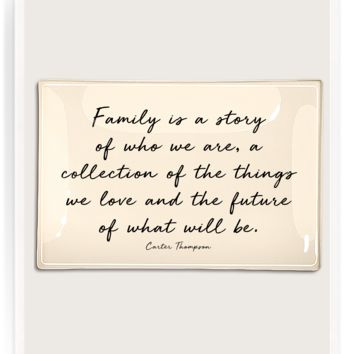 Family Is A Story Decoupage Glass Tray