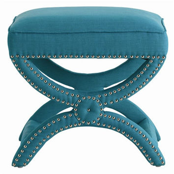 Arteriors Home Tennyson Turquoise Linen Stool with Nickel Studs - Arteriors Home 6685