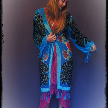 Long beaded fringe kimono / Stevie Nicks peacock silk burnout velvet in turquoise blue with bird design / hippie gypsy boho duster coat