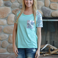 Mint Sequin Top