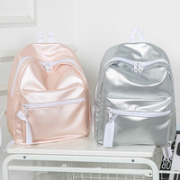 2016  PU Glossy Shiny Pink Silver School Backpacks for Teenage Girls Fashionable Backpack Leather Backpack Women Rucksack L1069