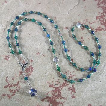 Gaia (Gaea) Prayer Bead Necklace in Chrysocolla/Lapis: Mother Earth, Mother of the Greek Gods