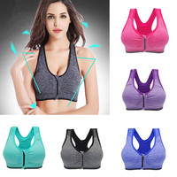 1Pc Women's Outdoor Wirefree Bras Top Shakeproof High Intensity Push Up Zip Sports Bra