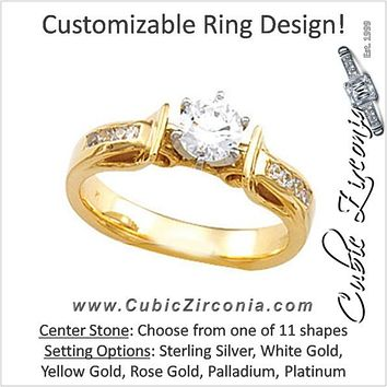 Cubic Zirconia Engagement Ring- The Laurel (Customizable 9-stone Round Channel)