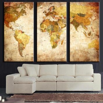 Vintage Retro World Map Environmental Professional Decorative Painting Canvas Triple World Map Wall Sticker Home Decoration