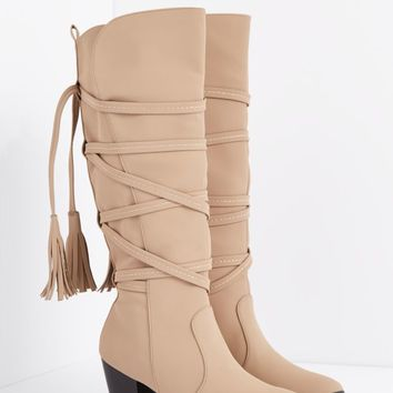 Taupe Wrapped Tassel Stacked Heel Boot | Knee High | rue21