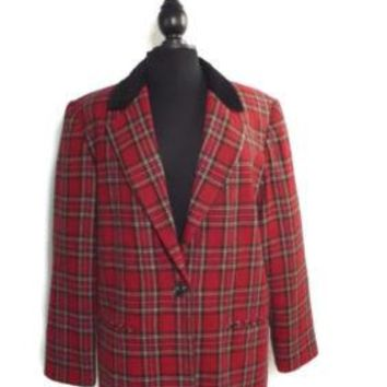 SAG HARBOR Size 14 CLASSIC womens RED Plaid Jacket W/ Crush Velvet Collar LINED
