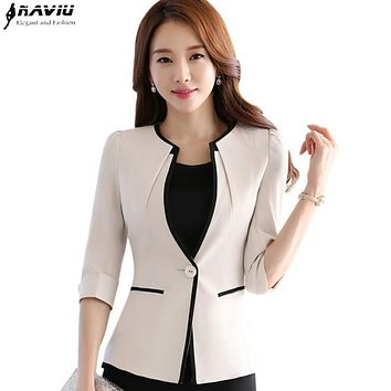 Female career fashion half sleeve women blazer New OL plus size formal slim jackets office ladies plus size work wear uniform