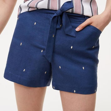 Petite Dot Embroidered Tie Waist Shorts | LOFT