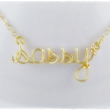 Sassy Wire Word Pendant Necklace Gold Color