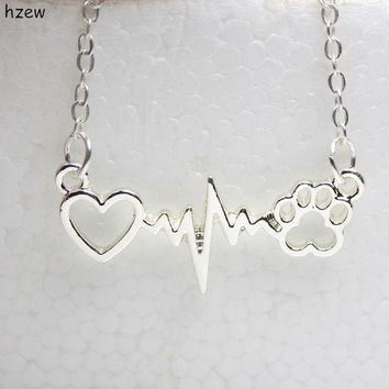 PEAPONHS hzew cute Animal vintage jewelry necklaces love Cats and Dogs Paws and heart Heartbeat necklace Paw necklaces & pendants