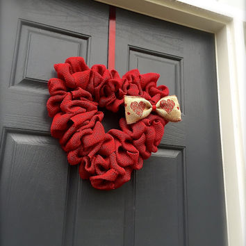 Red Heart Valentines Day Wreath Heart Door Decor Red Bow Hearts Love Gift