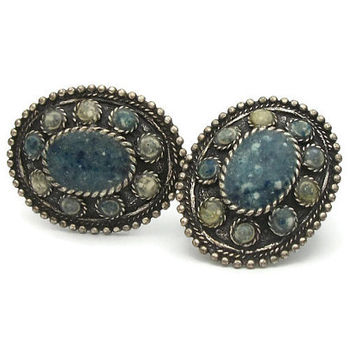 Vintage Chico's Clip Earrings - Signed Chico's Oval Pewter and Speckled Blue Stone Clip Ons - Vintage Clip On Earrings