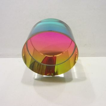 Glowing Glass Mini Paperweight Crystal Rainbow Round