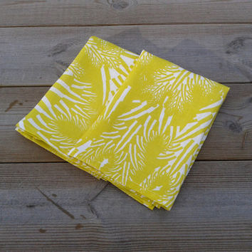 Linen tea towel made from Marimekko fabric, kitchen or hand towel, linen dish cloth, natural linen, Scandinavian design, yellow