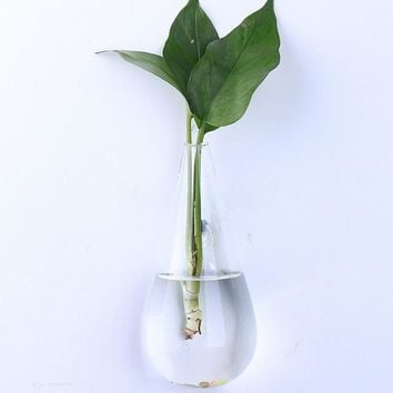 Hanging Clear Home Glass Wall Mounted Hanging Vase Bottle Plant Flower Ball Decor Terrarium Diamond Style