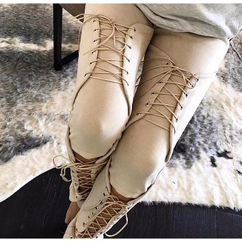 Corset Suede Tied-Up Leggings