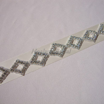 Bridal Sash with 7 Rhinestone Diamond trim