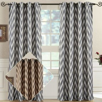 Pair (Set of 2) Lisette Chevron Top Grommet Window Curtain Panels