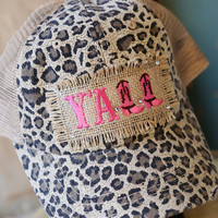 "Cheetah Embroidered ""Yall"" Baseball Hat W/ Bling and Burlap"