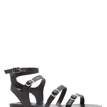 Buckled Faux Leather Sandals