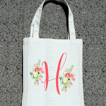 Bridesmaid Bridal Party Personalized Initial Tote - Wedding Welcome Tote Bag