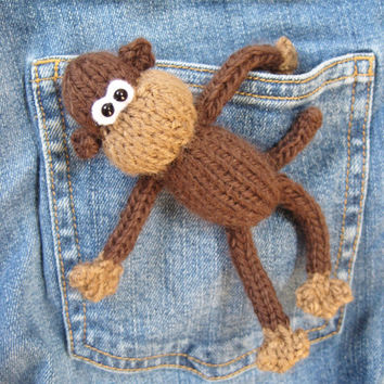 Pocket Monkey mini toy knitting pattern with instant download stash buster