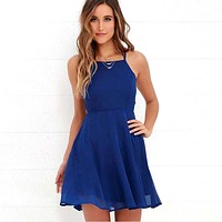 Backless Chiffon A-Line Mini Dress
