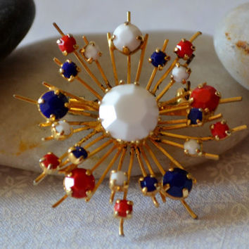 Red White and Blue Firecracker Brooch by BitsofthePast on Etsy
