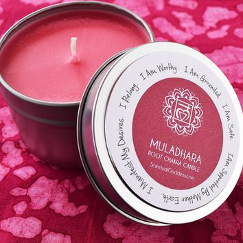 Muladhara Root Chakra Candle - Feel Grounded, Safe & Supported By Mother Earth - Manifest Your Desires