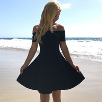 Off The Shoulder Skater Dress In Black