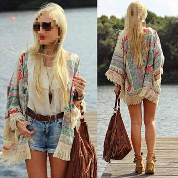 Gift Summer Women Fringed Tassel Shawl Cape Loose Batwing Sleeve Tops Shirt Holiday Casual Beach Cover Up