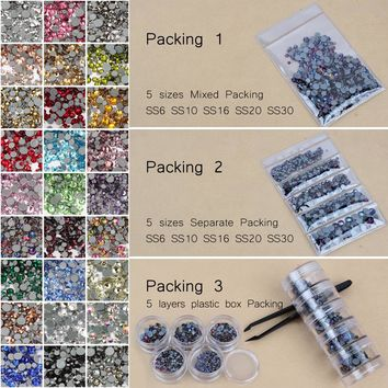 High quality Hotfix Rhinestone Crystal clear SS6-SS30 Mix size Crystals and stones 1000pcs/lot  for clothes DIY free shipping