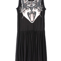 Cat Printed Sleeveless Drop Down Waist Pleated Dress