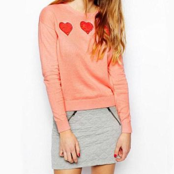 DCCKI2G Fashion Peach Heart knit sweater