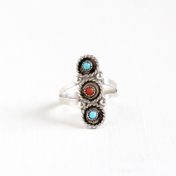 Sale - Vintage Sterling Silver Turquoise & Coral Ring - Retro 1960s Native American Tribal Southwestern Studded Split Shank Navette Jewelry