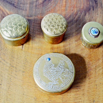 4 Vintage Brass Pill Boxes, Brass Keepsake Boxes