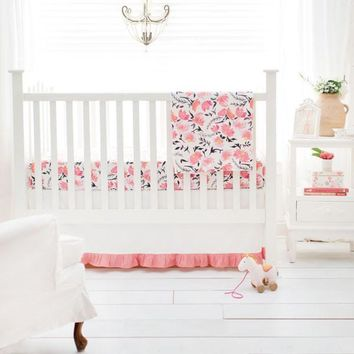 Crib Sheet | Floral Rosewater in Coral