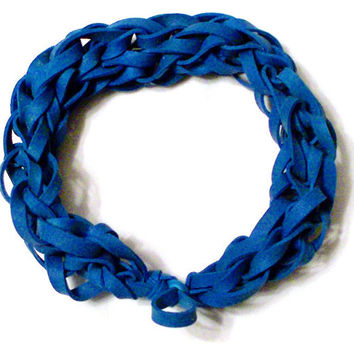 Blue Rubber Band Bracelet - Great Party Favor / Gift for Kids Teens and Adults