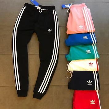Adidas Casual Stripe Drawstring Man Women Sport Running Long Pants Sweatpants Trousers Six Color H-XYCL01-1